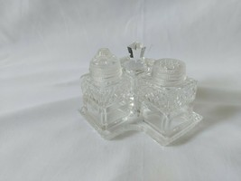 Beautiful Vintage Cut Glass Cruet Set With Glass Spoon Ladle Tray 5 Piec... - $22.15