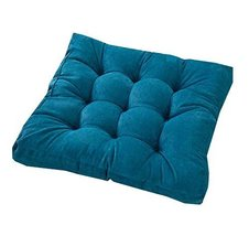 21-Inch Square Floor Pillow Tufted Support Padded Boosted Cushion, Blue - $42.93
