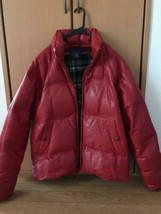 Polo by Ralph Lauren Authentic Leather Down Jacket Red Size M Used - $599.99