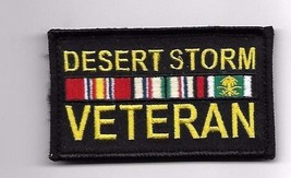 DESERT STORM VETERAN MILITARY RIBBON BLACK 2 X 3  EMBROIDERED PATCH HOOK... - $15.33