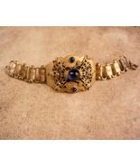 Vintage Victorian Bracelet - arched blue cab top - bookchain links - orn... - $165.00