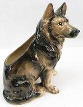 Vintage German Shepherd Dog Figure Ceramic Pottery Planter Relpo 1895 Japan - $30.00