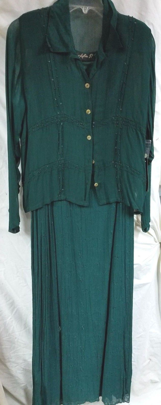 Primary image for Lola P Long Embroidered Sleeveless Dress Long Sleeve Sheer Jacket Size M Dk Grn