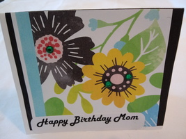 Floral Greeting card,Happy Birthday,mom,black and yellow - $3.50