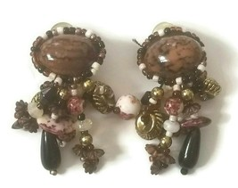 Vintage Cluster Dangle Charms Clip-On Earrings  - $14.85