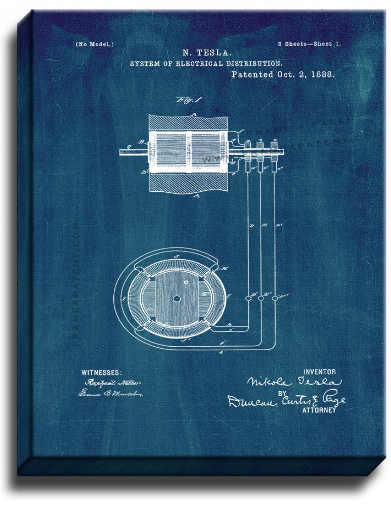 Primary image for Tesla System Of Electrical Distribution Patent Print Midnight Blue on Canvas
