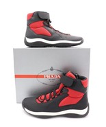 Prada Black Red Punta Ala America's Cup Ankle Strap High-Top Sneakers Sh... - $365.00
