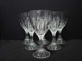"Set of 6 Mikasa Crystal PARK LANE 6 3/4"" Water -Wine Goblets Glasses  - $80.00"