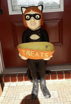 Halloween paper mache costume girl holds candy threat dish style of Susa... - $200.00