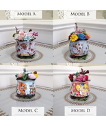 Hand Painted Ceramic Pots with Preserved Flower Eternal Rose Floral Arra... - $26.95+