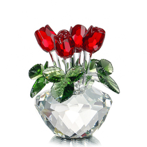 Four Roses Vase Crystal Glass for Home Decor Table Decoration Wedding Va... - $56.95