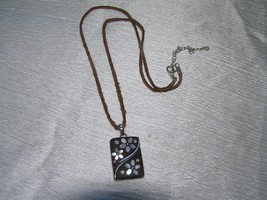 Estate Lia Sophia Marked Rustic Brown Leather Cord w Mother of Pearl Inlaid Flow - $15.79