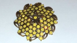 Lisner yellow opalescent vintage brooch pin - $26.99