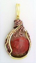 Red Horn Coral Gold Copper Wire Wrap Pendant 3 - $27.97
