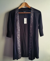 EXPRESS Open Front Cardigan Sweater Black Embellished 100% Cotton Size M, NWT - $54.50