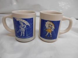 Old Vtg 1914 1956 MORTON SALT Mug Coffee Cup Set 2 WHEN IT RAINS IT POURS - $19.79