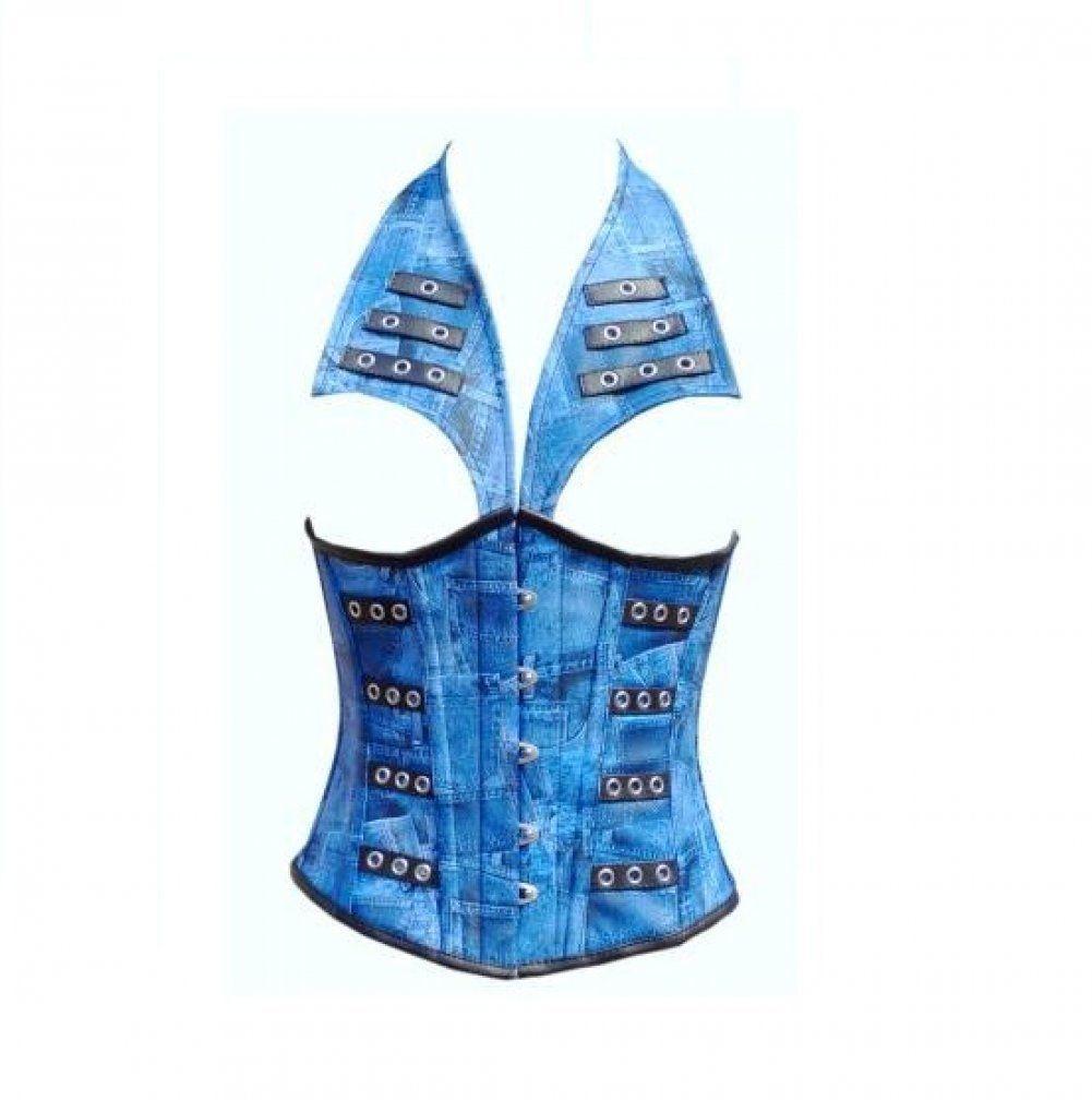 Blue Denim Print Leather with Collar Style Waist Training Underbust Corset Top