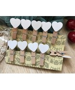 White Heart Clothespin,30pcs Wooden Paper Clips,Gifts Wedding Favor Deco... - $3.90+