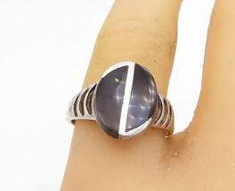925 Sterling Silver - Vintage Black Onyx Shiny Oval Cocktail Ring Sz 8 -... - $26.93