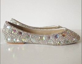 sparkly Wedding Ballet Flats Shoes Glitter Bride Bridesmaid Shoe Swarovski Shiny image 1