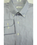 GORGEOUS Peter Millar Silk and Cotton Blue & Red Check Long Sleeve Shirt... - $79.99