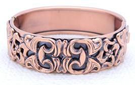 Matisse RENOIR Copper Floral Hinge Bracelet Vintage Mid Century - $74.25