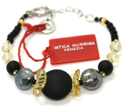 Bracelet Antica Murrina Venezia ,BR699A14,Black Yellow, Discs Spheres image 2