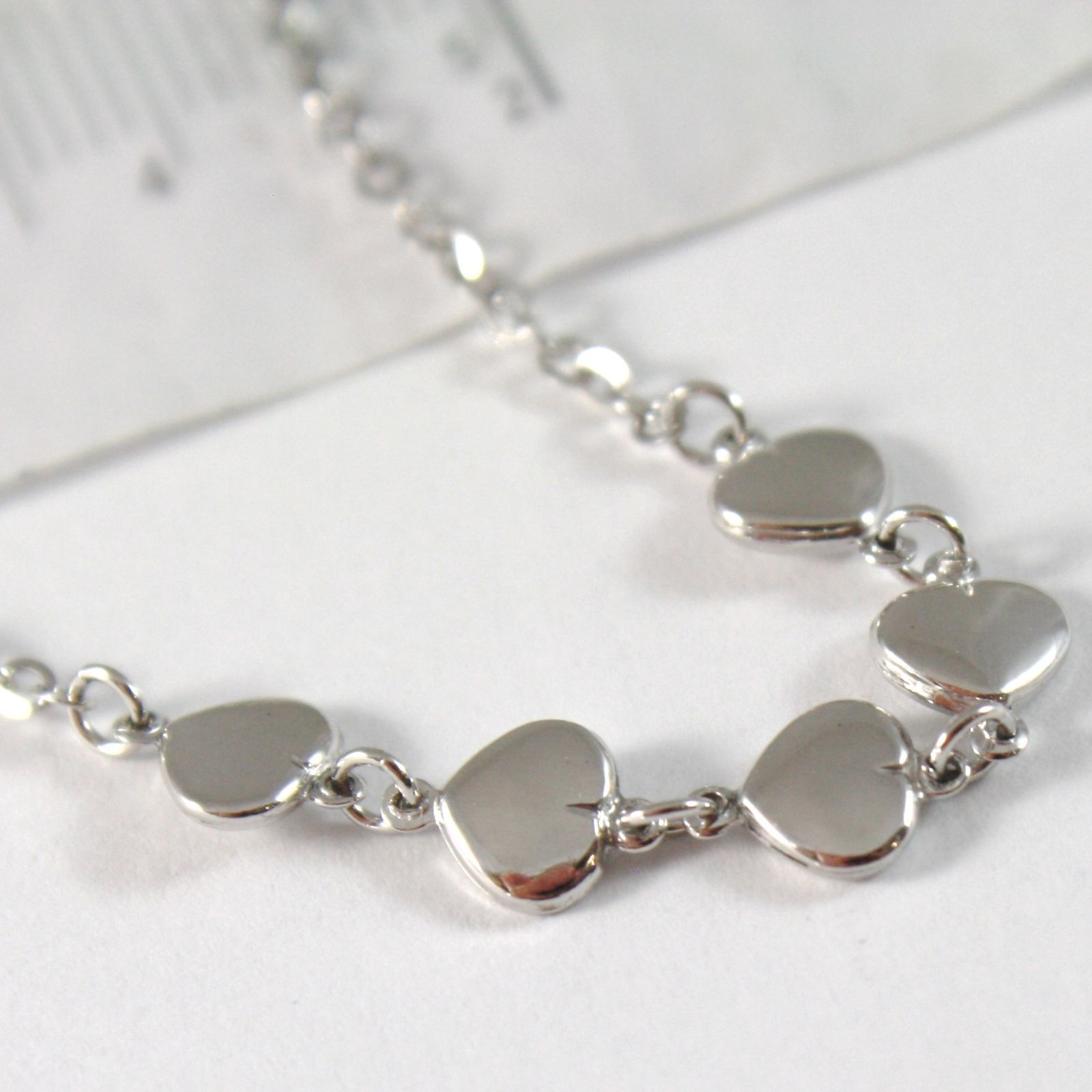 WHITE GOLD BRACELET 750 18K WITH ROWS OF HEARTS, HEART, LENGTH 18 CM