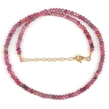 Ruby Gemstone Faceted Rondelle Beads Necklace with 925 Silver Chain Gold... - $44.99