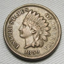 1859 Struck Through Grease Error Indian Cent XF Coin AE629 - $108.29