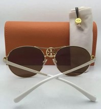 New TORY BURCH Sunglasses TY 6035 301913 60-12 Gold & Ivory White w/ Brown Fade - $159.95