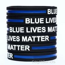 50 CHILD Size Blue Lives Matter Bands Thin Blue Line Law Enforcement Wristbands - $38.49
