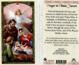 Prayer to Obtain Favors Card - Item EB358 - Blessed Be The Hour and Mome... - $2.79