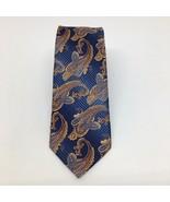 Bruno Piattelli Roma Tie 100% Silk Floral Paisley Tie Blue & Orange  - $23.36