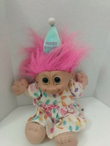 "Vintage Russ 12"" Happy Birthday Pink Girl Troll Soft Body Played With Co... - $12.28"