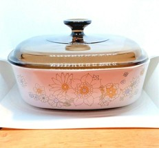"""Vintage Corning Ware 2 Quart Casserole Dish with Lid """"Daisy Pattern"""" NOS Mint - $39.59"""