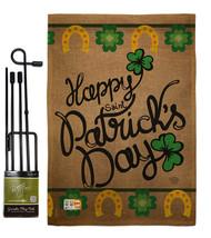 Happy Saint Patrick's Day Burlap - Impressions Decorative Metal Garden Pole Flag - $33.97