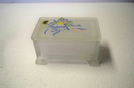 E-101 Westmoreland fronted glass trinket box dove and bells picture - $12.59