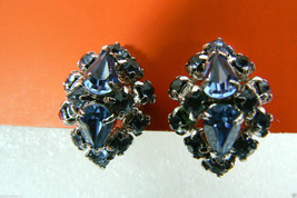 Vintage Czech Blue Crystal Rhinestones silver tone screw clips earrings ~L@@C~ - $31.64