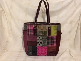 Coach Patchwork Purse Tote Bag Suede patent fabric pink purple Handbag - ₹4,583.76 INR