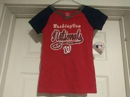 MLB Genuine Washington Nationals Baseball Youth GIRLS Size (M 7/8) Red T-Shirt - $12.66