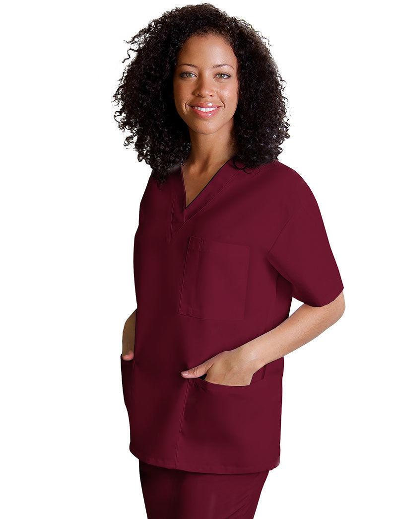 Scrub Set Burgundy V Neck Top Drawstring Waist Pants M Adar Medical Uniforms New image 2