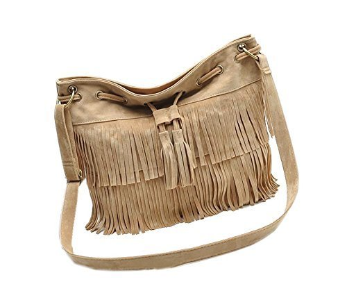 Vintage Leather Cross-body Bag Tassel Drawstring One Shoulder Bag
