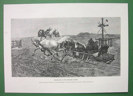 UKRAINE Travel in 19th C Horses Sleds - VICTORIAN Era Engraving Print - $13.46