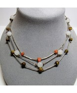VINTAGE 3 Piece Lot Sterling Liquid Silver Necklace Glass Coral Tigers E... - $29.70