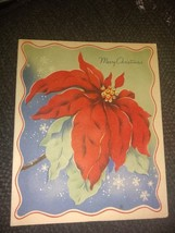 Big Red Poinsettia Vintage Christmas Card - $4.00