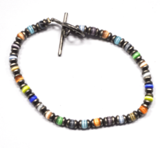 """Sterling Silver Rainbow Tigers Eye Bead Capsule Wire Bracelet 4mm 8"""" Toggle - $15.83"""