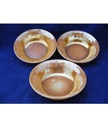 """3 Fire King Oven Proof Peach Luster Leaf Pattern Fruit Bowls 4 7/8"""" x 1.5"""" - $9.95"""