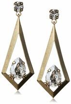 Tova 14mm x 10mm Swarovski Clear Crystal Gold Tone Triangle Kite Drop Earrings