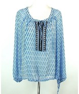JESSICA SIMPSON Size 2X Sheer Peasant Gathered Tunic Top - $17.99